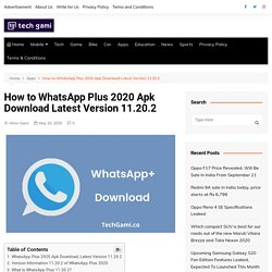 Download WhatsApp Plus 2020 Apk Latest Version 11.20.2 - TG