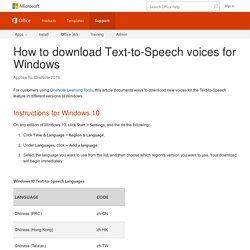 How to download Text-to-Speech voices for Windows - OneNote