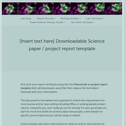 [Insert text here] Downloadable Science paper / project report template – LaNts and Laminins