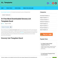 5+ Free Most Downloaded Grocery List Template Excel - XL Template