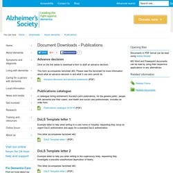 Document Downloads - Publications - Alzheimer's Society