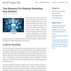 Two Reasons For Website Downtime And Solution - HostSailor Services
