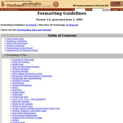Formatting Guidelines