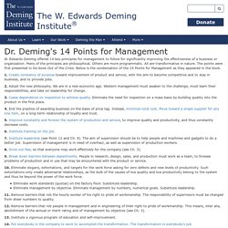 Dr. Deming's 14 Points for Management