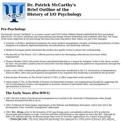 Dr. McCarthy's I/O History Notes