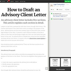 How to Draft an Advisory Client Letter
