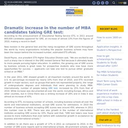 Dramatic increase in the number of MBA candidates taking GRE test: