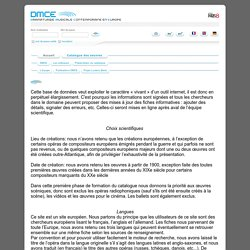 DMCE - Dramaturgie musicale contemporaine en europe