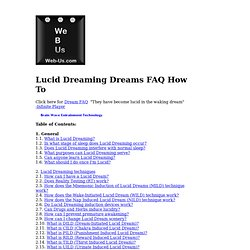 Lucid Dreaming FAQ Frequently Asked Questions with answers about Lucid Dreaming and Lucid dreams