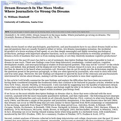 Dreams: Dream Research In The Mass Media
