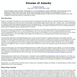 Dreams of Autarky