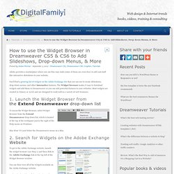 Widget Browser Adobe Dreamweaver CS5, CS4, and CS3 Free Tutorials and Training videos