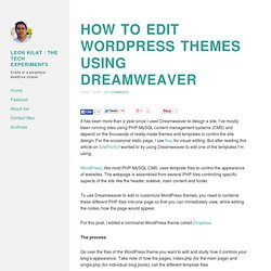 How to edit Wordpress themes using Dreamweaver
