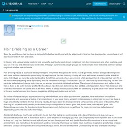 Hair Dressing as a Career
