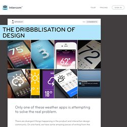 The Dribbblisation of Design