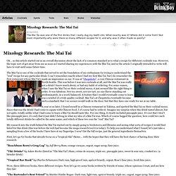 Mixology Research: The Mai Tai