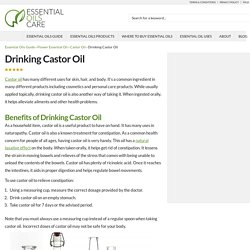 Drinking Castor Oil And Its Natural Healing Powers - Essential Oils Care