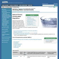 Epa Primary Drinking Water Contaminant List