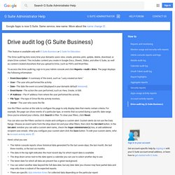 Drive audit log (G Suite Business) - G Suite Administrator Help