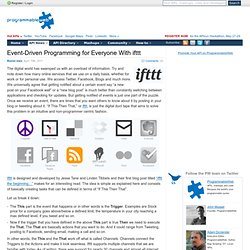 Event-Driven Programming for Everyone With ifttt