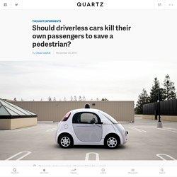 Should driverless cars kill their own passengers to save a pedestrian?