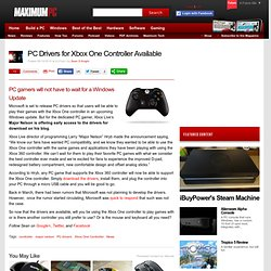 PC Drivers for Xbox One Controller Available
