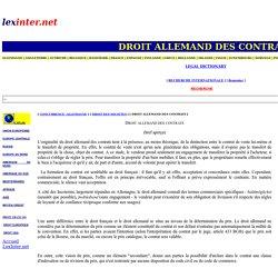 DROIT ALLEMAND DES CONTRATS
