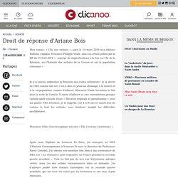 Droit de réponse d'Ariane Bois