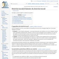 Droit du travail/L'histoire du droit du travail — Wikilivres