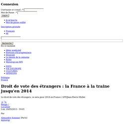 Droit de vote des étrangers : la France à la traine jusqu'en 2014