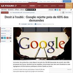 Droit à l'oubli : Google rejette près de 60% des demandes
