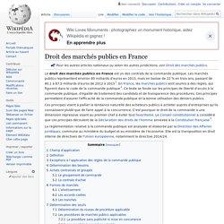 Droit des marchés publics en France