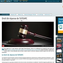 Droit de réponse de TUTO4PC