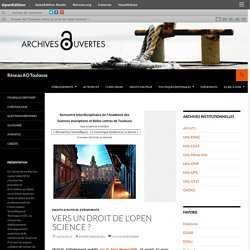 Vers un droit de l'open science ?