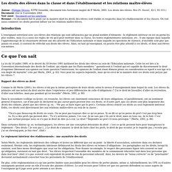 Les droits des élèves - SAPEA, IUFM de Grenoble