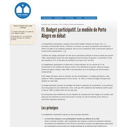 Les droits humains au coeur de la cité : F1. Budget participatif. Le modèle de Porto Alegre en débat