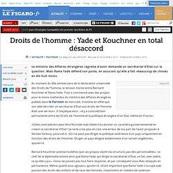 Politique : Kouchner regrette la création du secrétariat d'Etat aux Droits de l'Homme