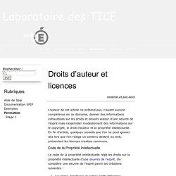 Droits d'auteur et licences - Laboratoire des TICE