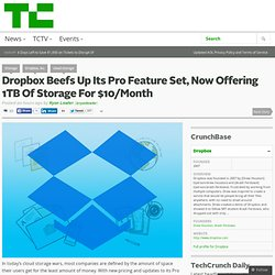 Dropbox Beefs Up Its Pro Feature Set, Now Offering 1TB Of Storage For $10/Month
