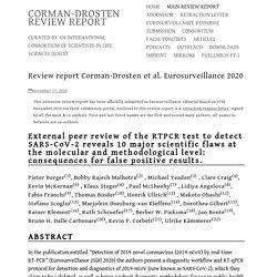 Review report Corman-Drosten et al. Eurosurveillance 2020 – CORMAN-DROSTEN REVIEW REPORT