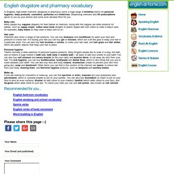 English drugstore and pharmacy vocabulary