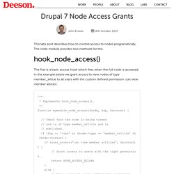 Drupal 7 Node Access Grants