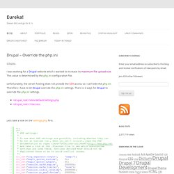 Drupal – Override the php.ini