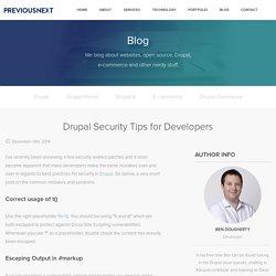 Drupal Security Tips for Developers