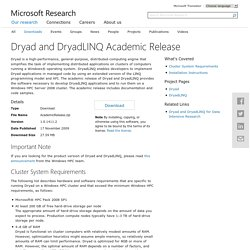 Dryad and DryadLINQ Academic Release