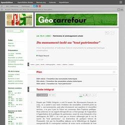 """Du monument isolé au """"tout patrimoine"""""""