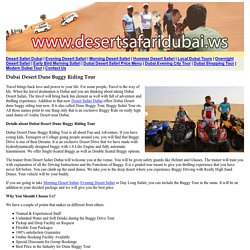 Dubai Dune Buggy Desert Safari - Desert Dune Buggy Riding Tours