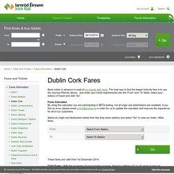 Dublin Cork Fares