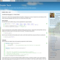 Dublin Tech: Javascript language a- z cheat sheet