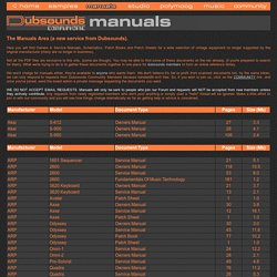 DUBSOUNDS PDF Owners Manuals, Service Manuals, Schematics, Patch Books & Charts Library
